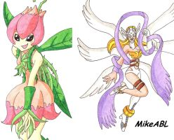 Digimon Angewomon and Lilimon by MikeES