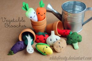 Vegetable Brooches by whitefrosty