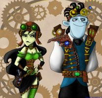 Steampunk Dr. Drakken and Shego by Abydell