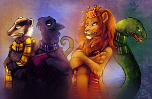The Badger, Raven, Lion, Snake by possim