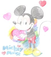 Colored Pencil mickey mouse by spongefox