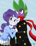 Spike and Rarity - It's cold out by AmostheArtman