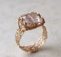 Rose Quartz Ring by WrappedbyDesign