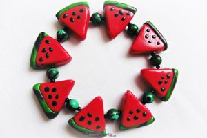 Watermelon Charm Bracelet by Cateaclysmic