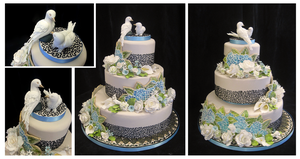 Hydrangeas and Doves Wedding Cake by plangkye