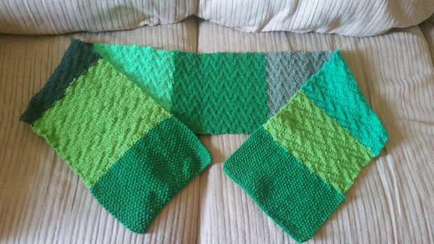 Green striped scarf by Schorchingskys