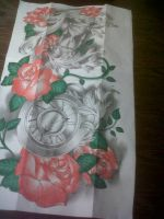 full sleeve tattoo design (time and roses) by tattoosuzette