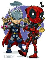 Lil Deadpool 'n' Thor by lordmesa