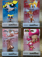 Custom amiibo - Bubbles, Tails, PG Peach, Toadette by MisterAlex