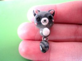 Polymer Clay Miniature Dangle Raccoon by MaxxeneStacey