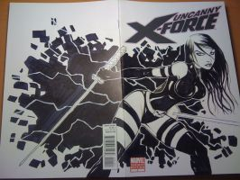 Psylocke sketch cover by renecordova