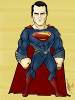 Henry Cavill MOS cartoon by Kryptoniano