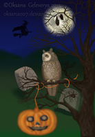 HALLOWEEN  Long Eared Owl  - Screenshot from live by Oksana007