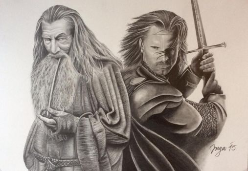 Gandalf and Aragorn by reacool