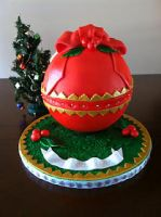 Christmas Ornament Cake by hotkist