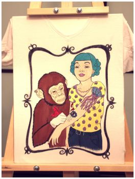 Chimpance tatuador: handpainted t-shirt I by purpleniya
