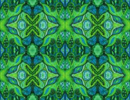 Minty Leafy mirror repeat by PeriwinklePaisley