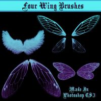 Four Wing Brushes by dollieflesh-stock