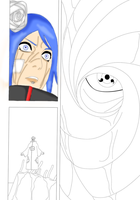 Work in progress.. Konan vs. Tobi. by AstroZombie95