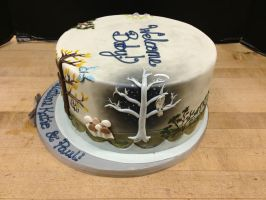 Enchanted Forest Baby Shower Cake- Winter by Spudnuts