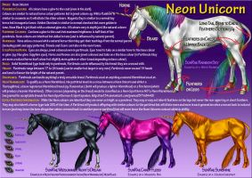 Neon Unicorn Ref Sheet by SunRaeStables