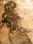 Tea-stained Mermaid drawing by kara-lija