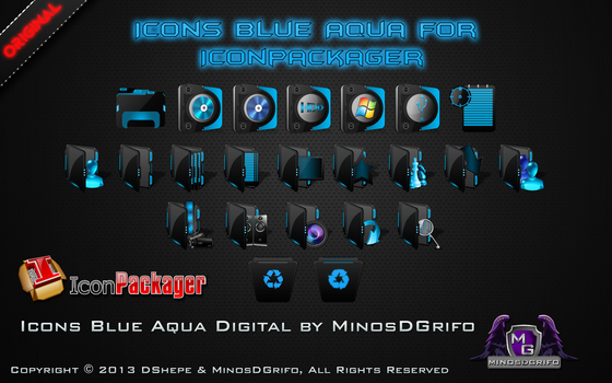 Icons Blue Aqua Digital for Iconpackager by DShepe