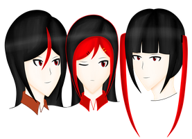 Red and Black hair Trio by BishieDream