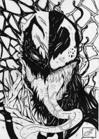 anti venom vs venom b w by darkartistdomain