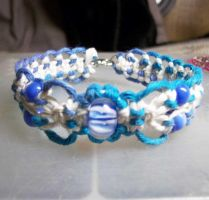 Blue Lampwork Flower Hemp by Psy-Sub