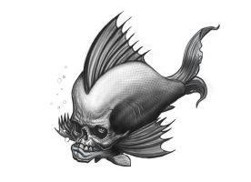 Skull Fish Sketch by RodgerPister