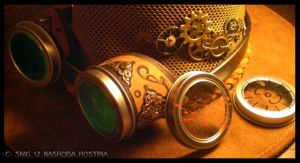 Steampunk Goggles and Interchangable Lenses by Nashoba-Hostina