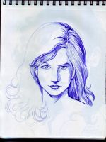 A4 Sketchbook Canson - starting the blue hair by Penerari