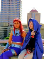 Starfire and Raven by morisa9