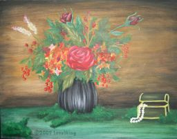 Oil painting ' flowers vase ' by LOVE--WING