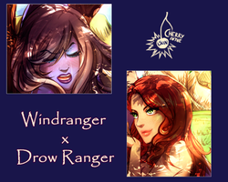 Commission teaser - Windranger x Drow Ranger by CherryInTheSun