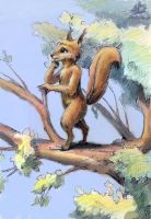 Squirrel on a tree. by DekabristMouse