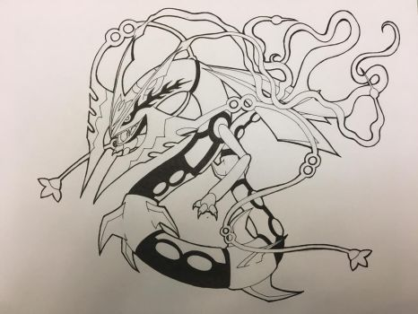 Mega Rayquaza Lineart by Dragon97586