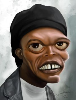 Samuel L Jackson caricature by r3cycled
