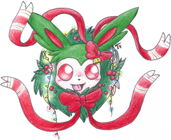 Christmas Sylveon by MotherGarchomp622