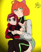 Penny and plushy by Ravenarc33
