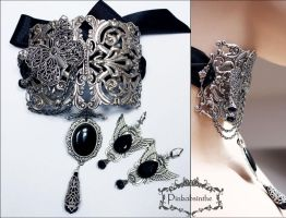 Filigree neck corset and winged earrings  II by Pinkabsinthe