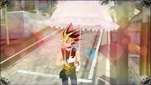 MMD - Yu-Gi-Oh - Yami waiting in rain - Wallpaper by InvaderBlitzwing