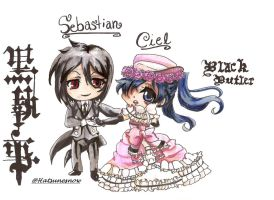 Ciel and Sebastian dancing by HatsuneSnow