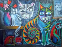 cats in my studio 2 by karincharlotte