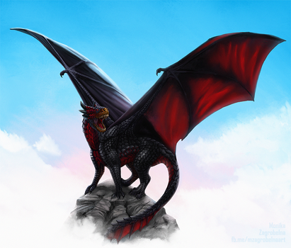Red-bellied black dragon by MonikaZagrobelna