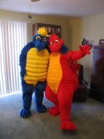 The red and blue dragons meet. by ledgema