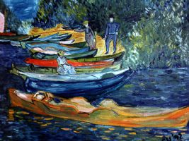 Rowing Boats in Oil by CarolynYM