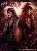 Back in Bleach- Byakuya -Renji by keelerleah