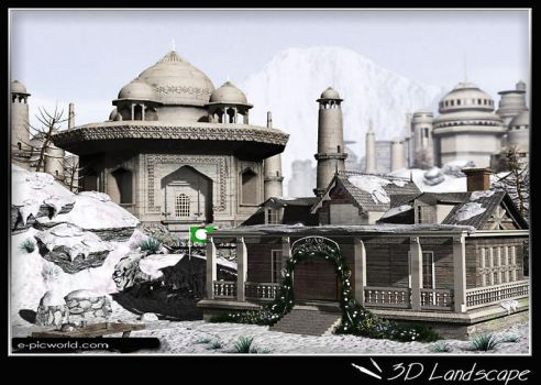 3d houses on a mountain by neezhom